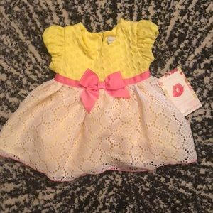 NWT Sweet Heart Rose Yellow Pink Lace Bow Dress 12